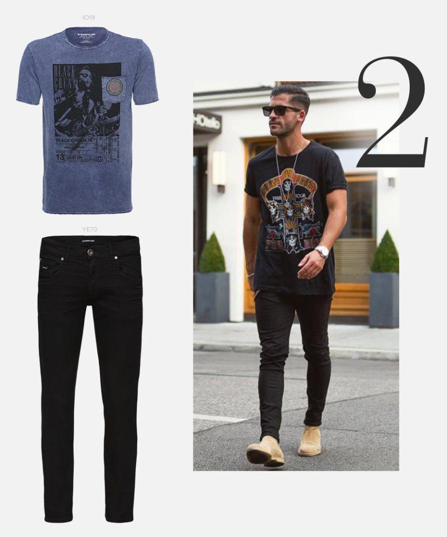 t-shirt e calça jeans com bota masculina