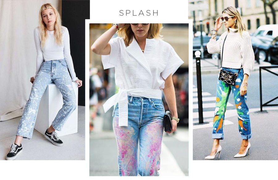 Customizando o jeans com tinta splash
