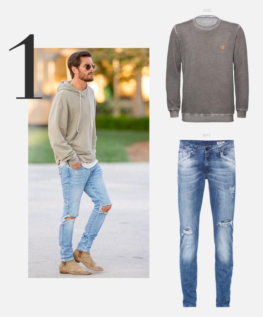 moletom e calça jeans masculina