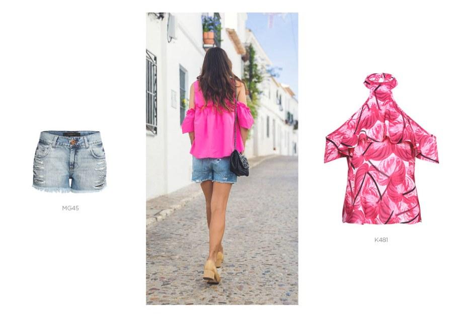top rosa com short jeans