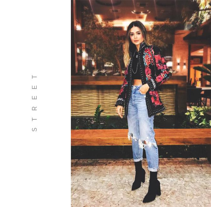 look street com calça mom jeans