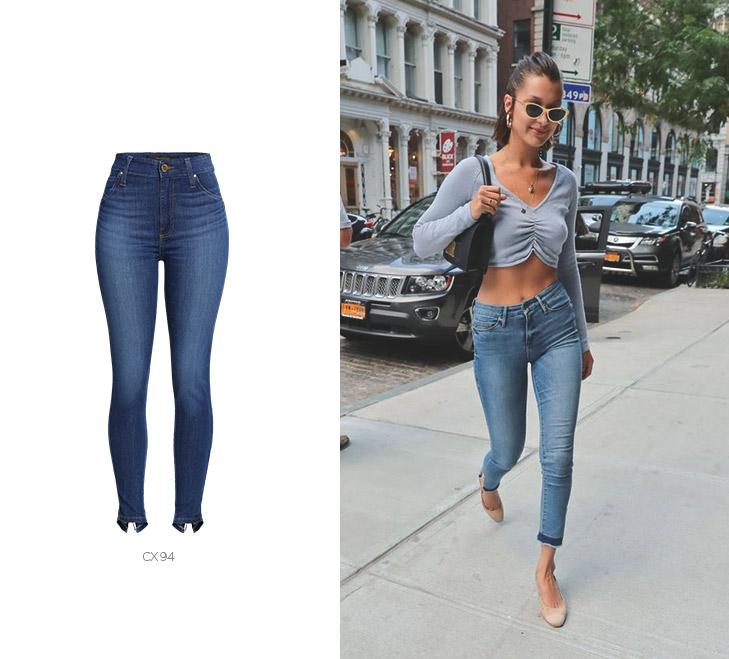 bella hadid com calca jeans