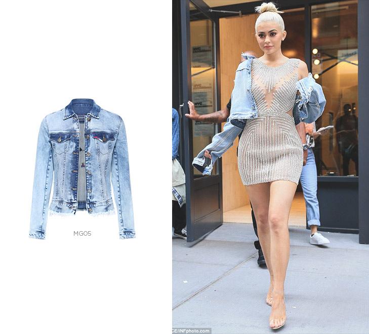 kylie jenner com jaqueta jeans
