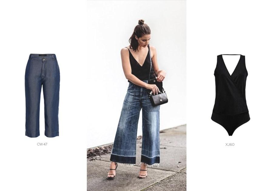 pantacourt jeans com body preto