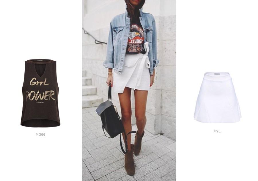 saia branca com camiseta tipográfica em looks de primavera