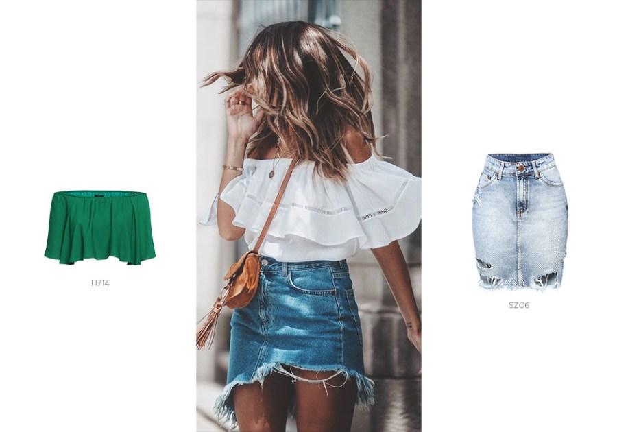 saia jeans e top ciganinha em looks de primavera