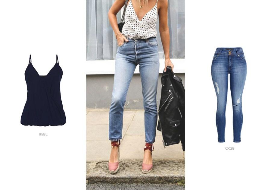 jeans com top de alcinha para primavera