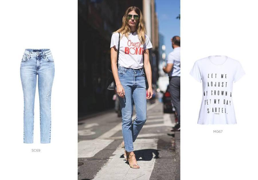 calça jeans e camiseta branca