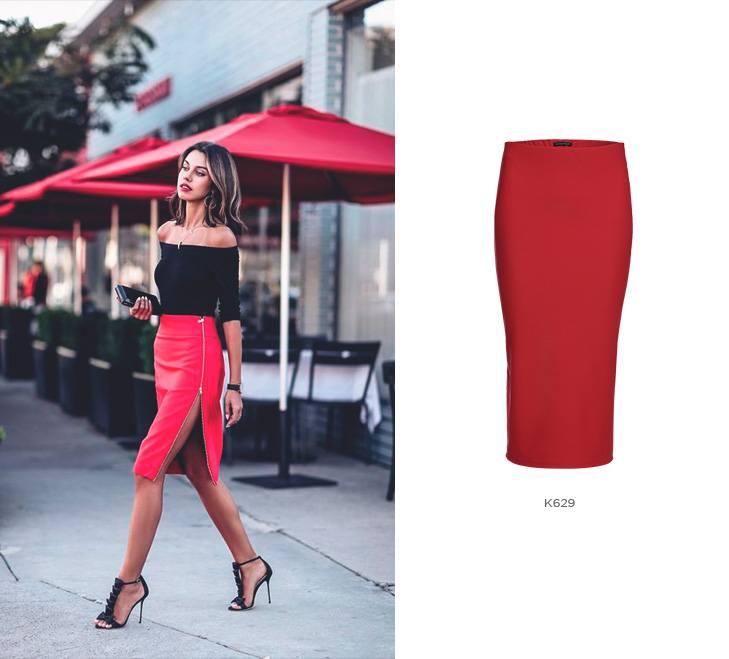 Look vermelho com saia midi