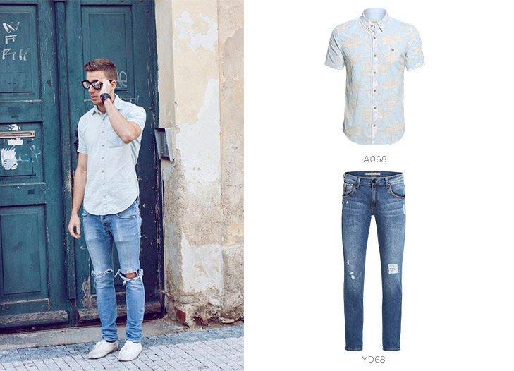 jeans azul claro destroyed e camisa social