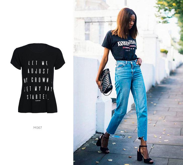 camiseta preta jeans damyller