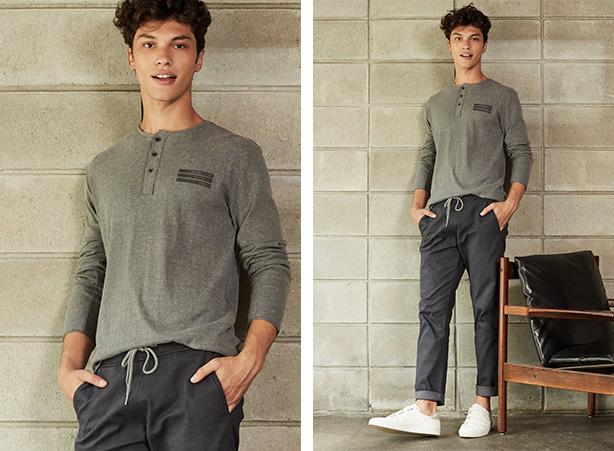 Calça jogger jeans cinza escuro