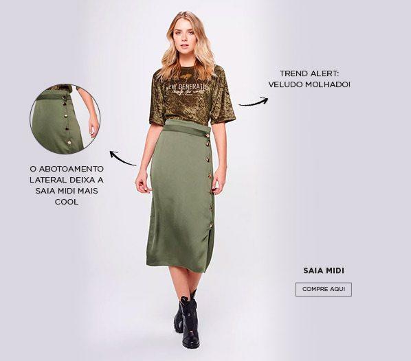 estilo militar com saia e blusa