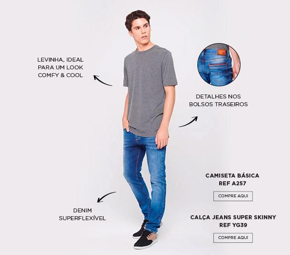 jeans flexível e t-shirt