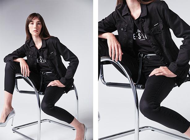 look com calça jeans preta