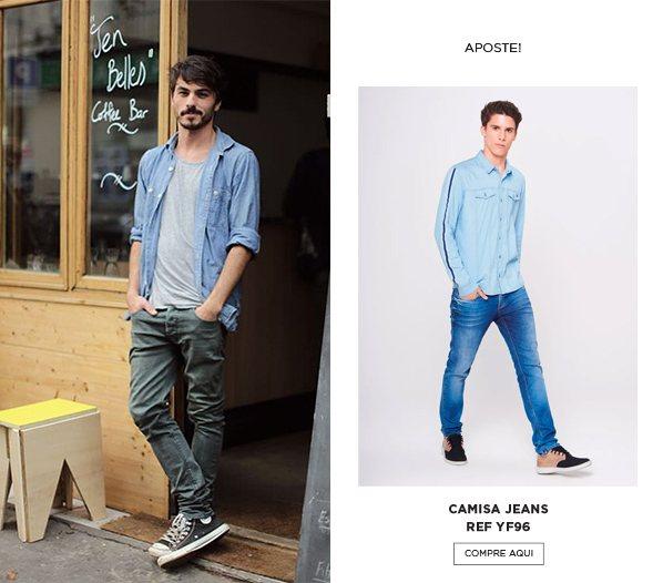 look de camisa jeans aberta
