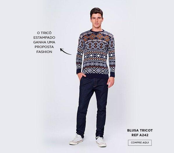 Look com trico estampado