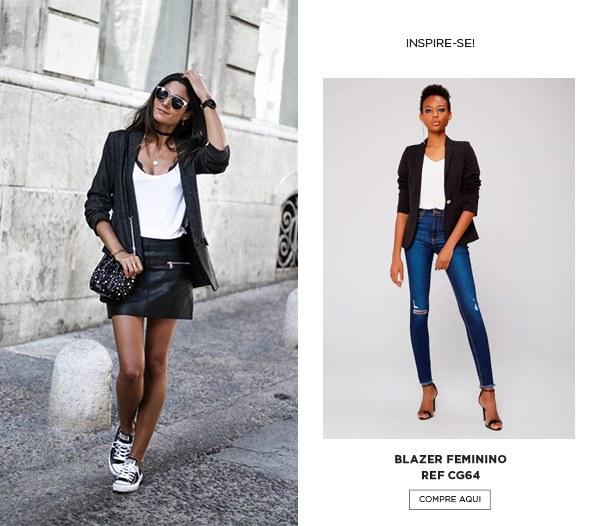 Look com blazer preto