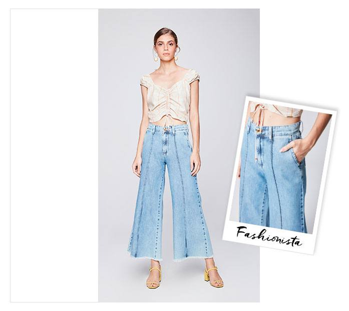 Pantalona cropped jeans com top cropped franzido.