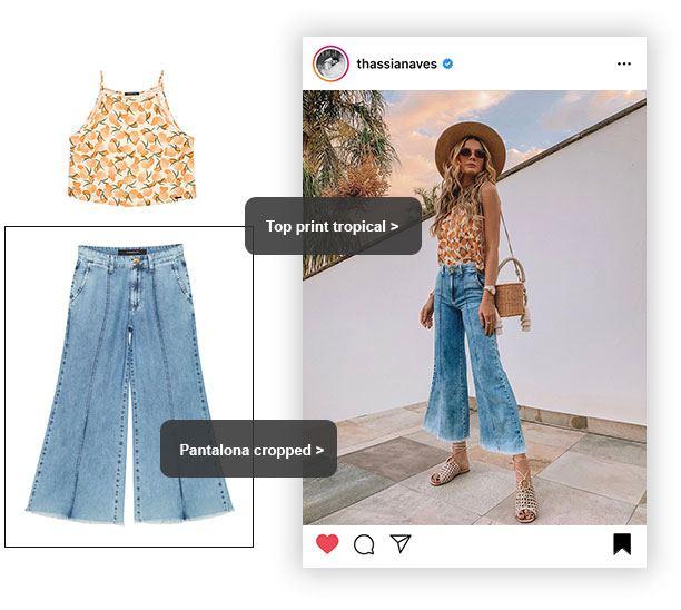 Calça pantalona jeans cropped
