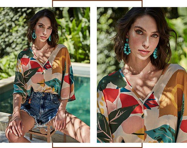 Blusa com estampa maxi floral