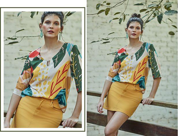 blusa estampada com maxi floral
