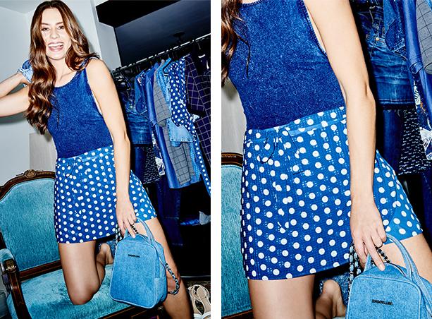Short saia de tecido fino azul marinho