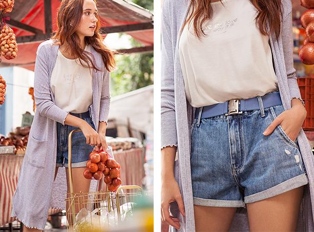 Short jeans de cintura alta com cinto azul claro