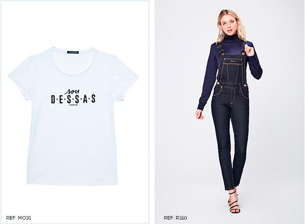 Camiseta de malha branca com escrita preta centralizada. Jardineira skinny jeans escuro e blusa azul marinho de gola alta e mangas longas.