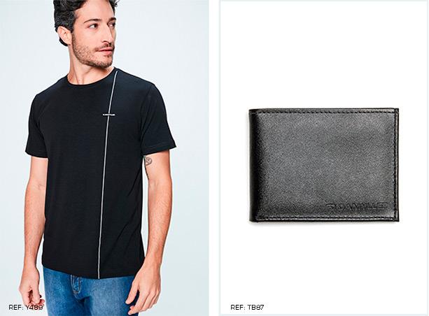 Camiseta masculina de malha preta com listra branca na lateral e calça jeans. Carteira de couro preto.