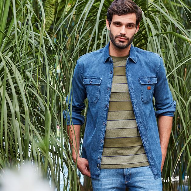 camisa jeans de manga longa e calça jeans