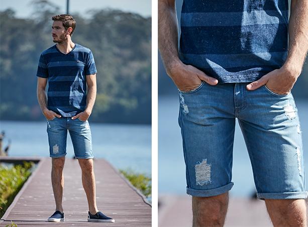 Bermuda masculina jeans claro com detalhe de rasgos