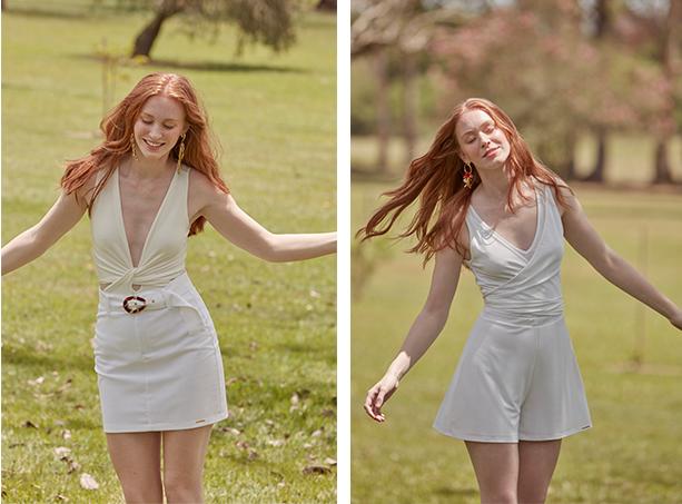 Saia mini branca com cinto de fivela com body off white com decote alongado. Short branco de tecido leve e body branco com decote.