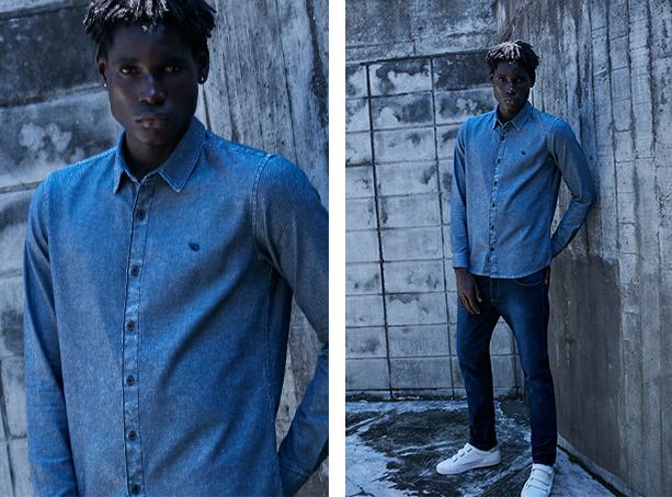 camisa jeans escuro de manga longa