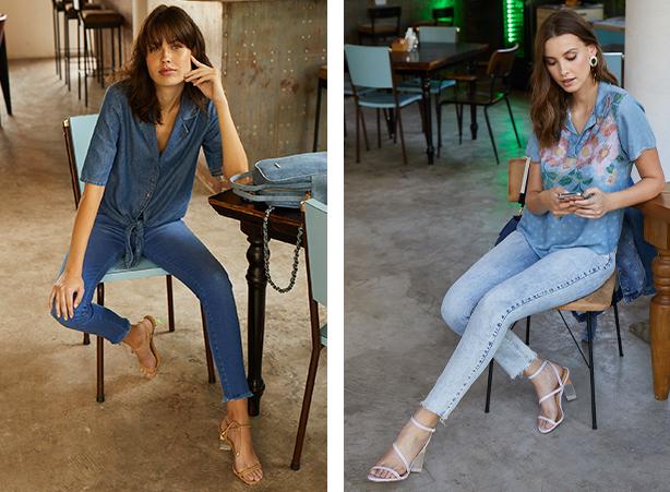 Calça feminina jeans escuro