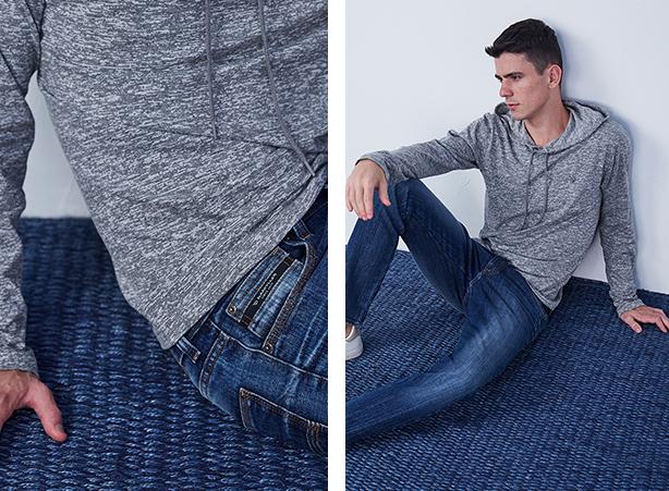 calça jeans skinny em algodão com elastano