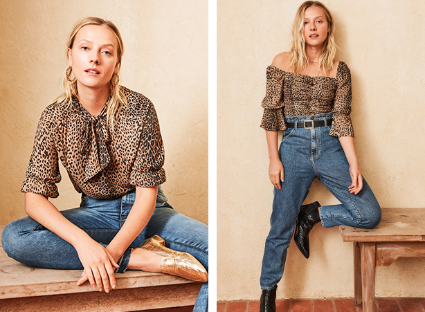 Calça jeans com blusa de oncinha