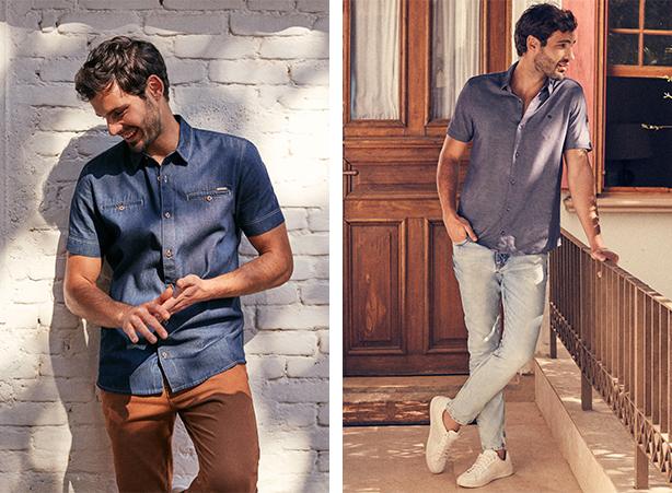 Camisa jeans em look para o verão