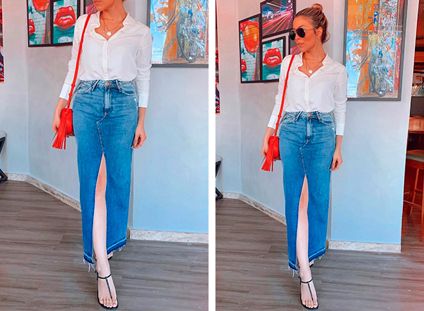 Office look com saia jeans longa