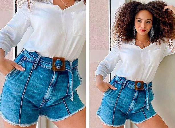 Short jeans de cintura alta com cinto de maxi fivela