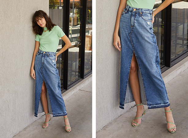 Saia jeans com fenda frontal