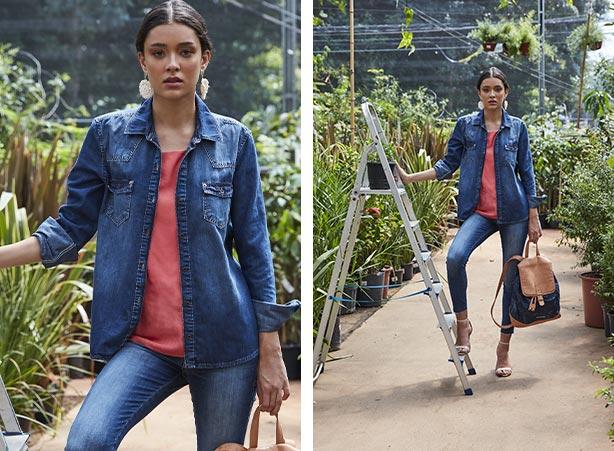 Camisa jeans feminina como sobreposição