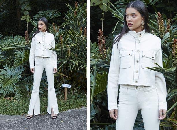 Look com calça branca flare