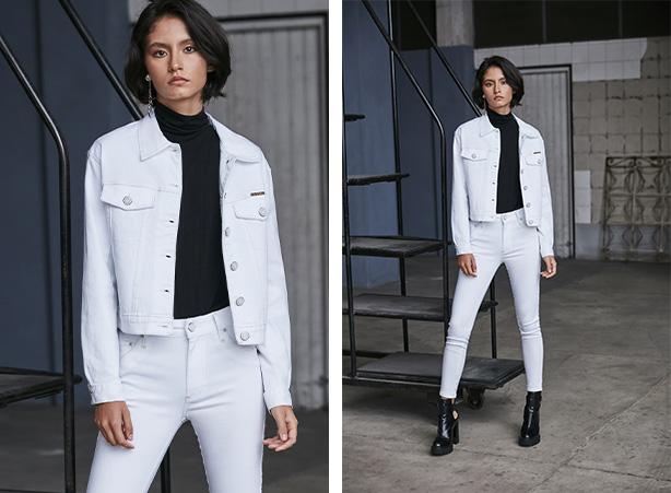 Look com calça branca e jaqueta branca