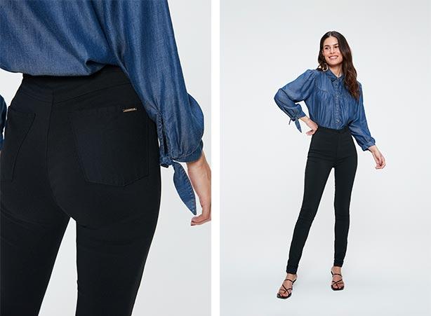 Calça preta com camisa jeans feminina em looks básicos