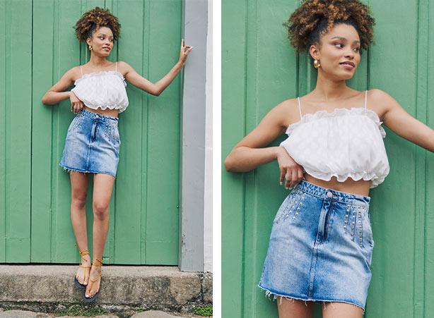 Tecido franzido moda verão 2021