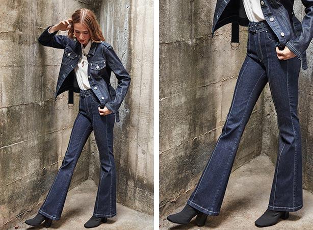 Calça flare com jaqueta jeans