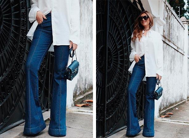 Calça flare jeans com camisa branca