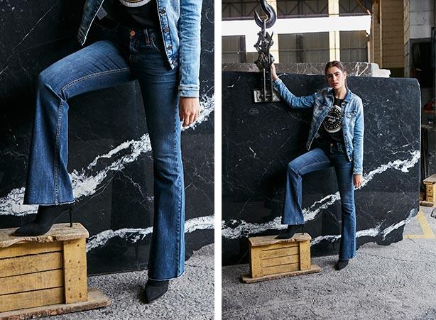 Calça flare com t-shirt e jaqueta jeans