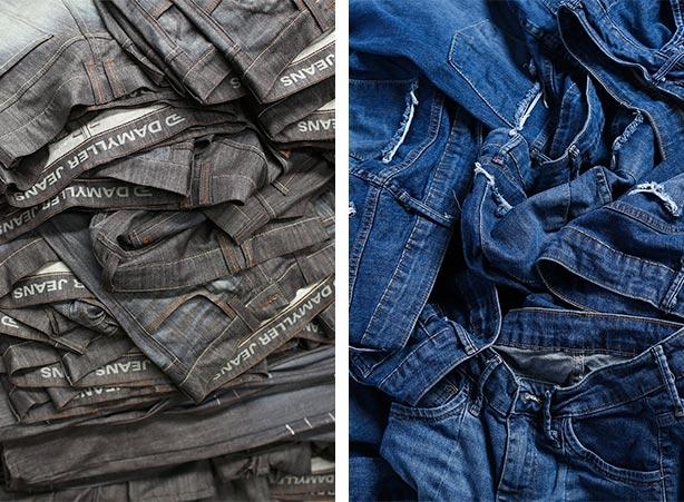 Lavar jeans escuro e jeans claro